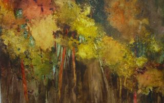 """Fox Trees"" 20x26.5 - Watercolor on Yupo"